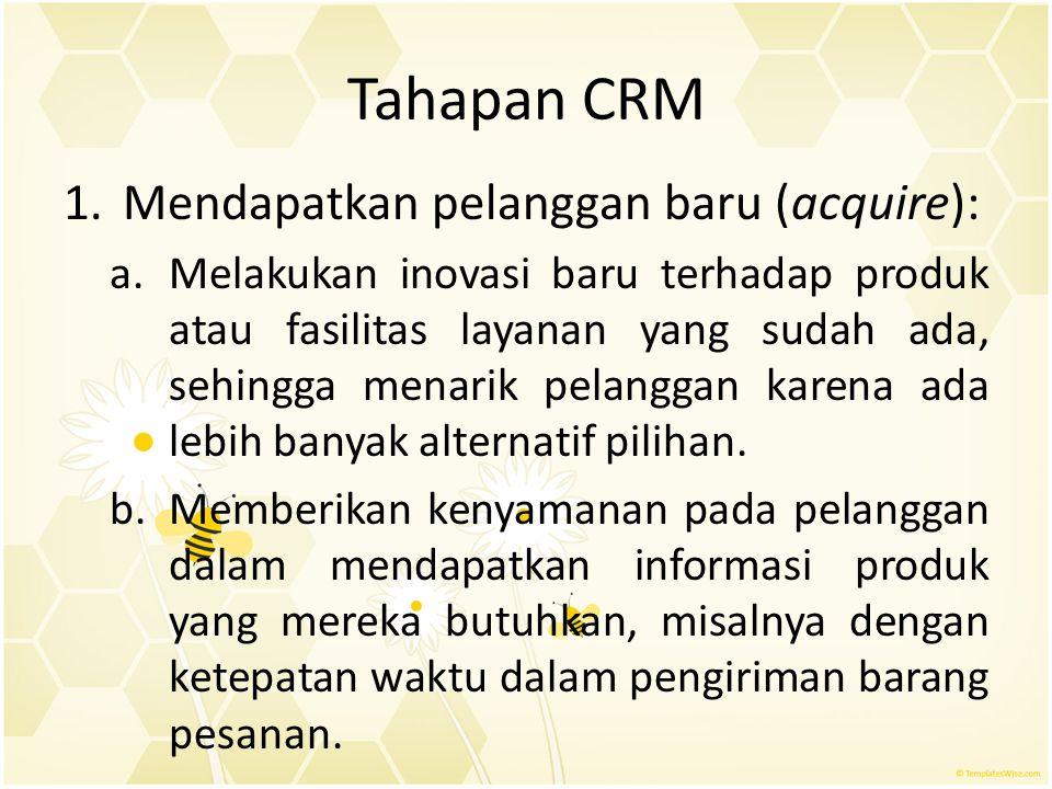 Tahapan CRM Mendapatkan pelanggan baru (acquire):