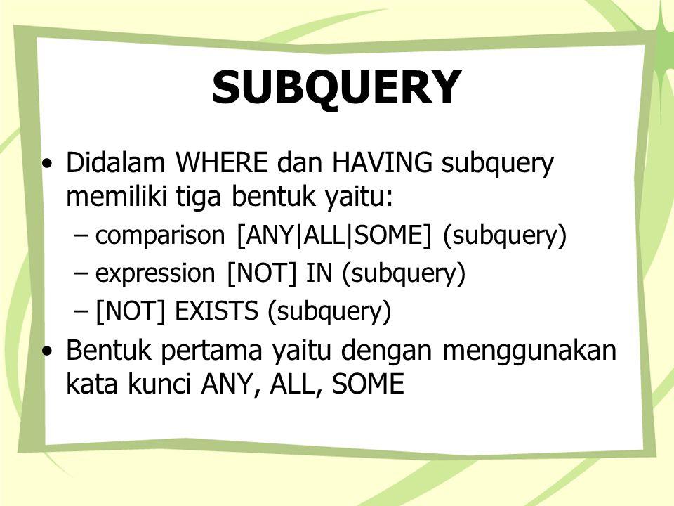 SUBQUERY Didalam WHERE dan HAVING subquery memiliki tiga bentuk yaitu: