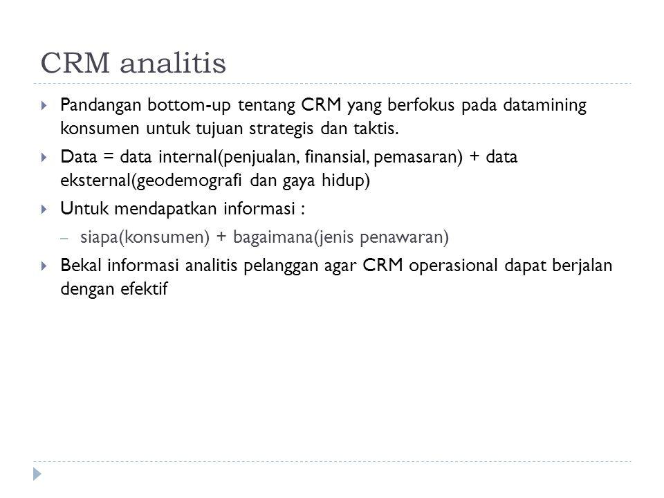 CRM analitis Pandangan bottom-up tentang CRM yang berfokus pada datamining konsumen untuk tujuan strategis dan taktis.