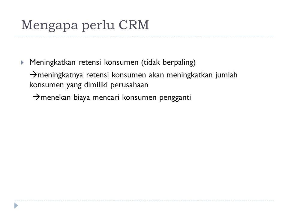 Mengapa perlu CRM Meningkatkan retensi konsumen (tidak berpaling)