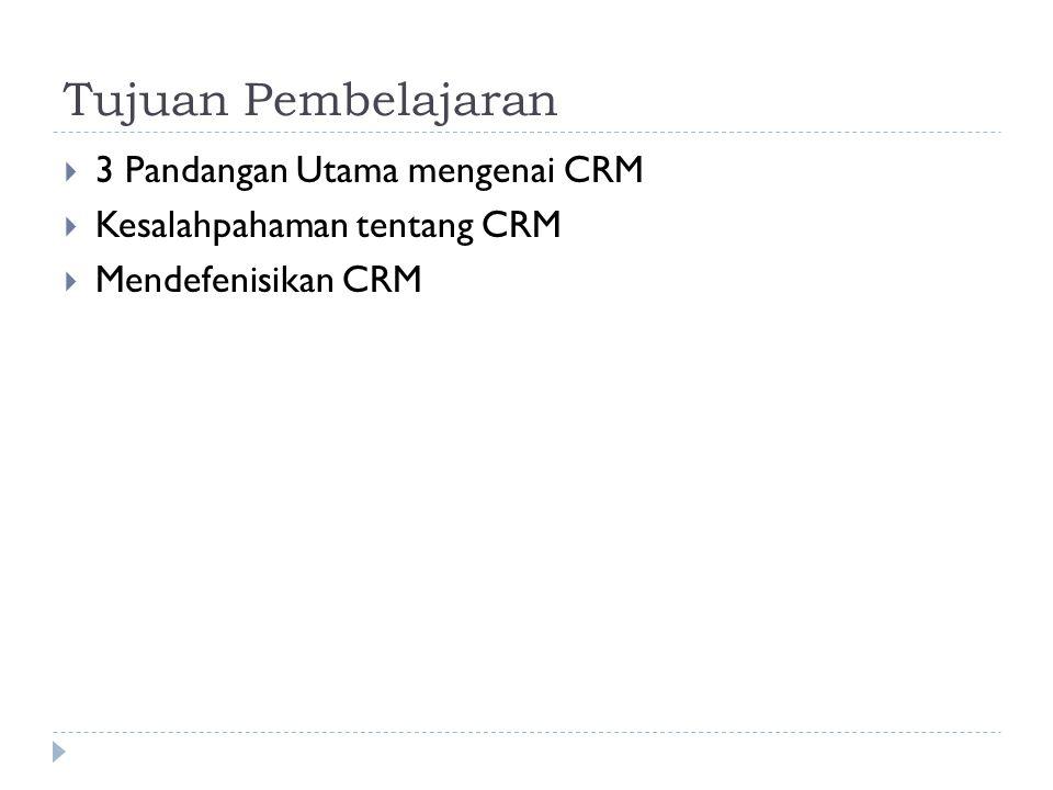 Tujuan Pembelajaran 3 Pandangan Utama mengenai CRM