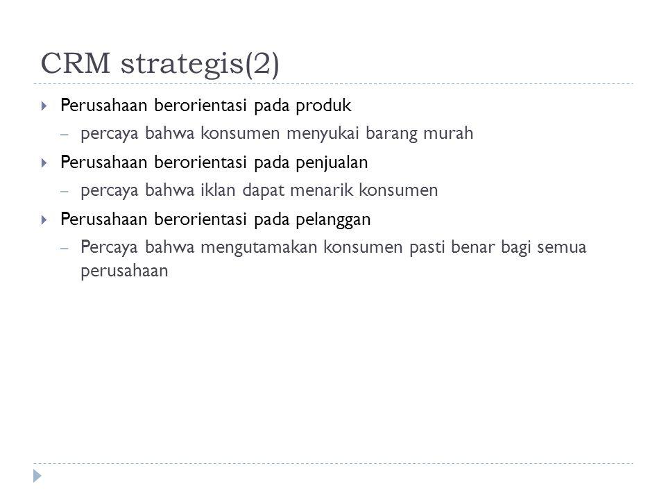 CRM strategis(2) Perusahaan berorientasi pada produk