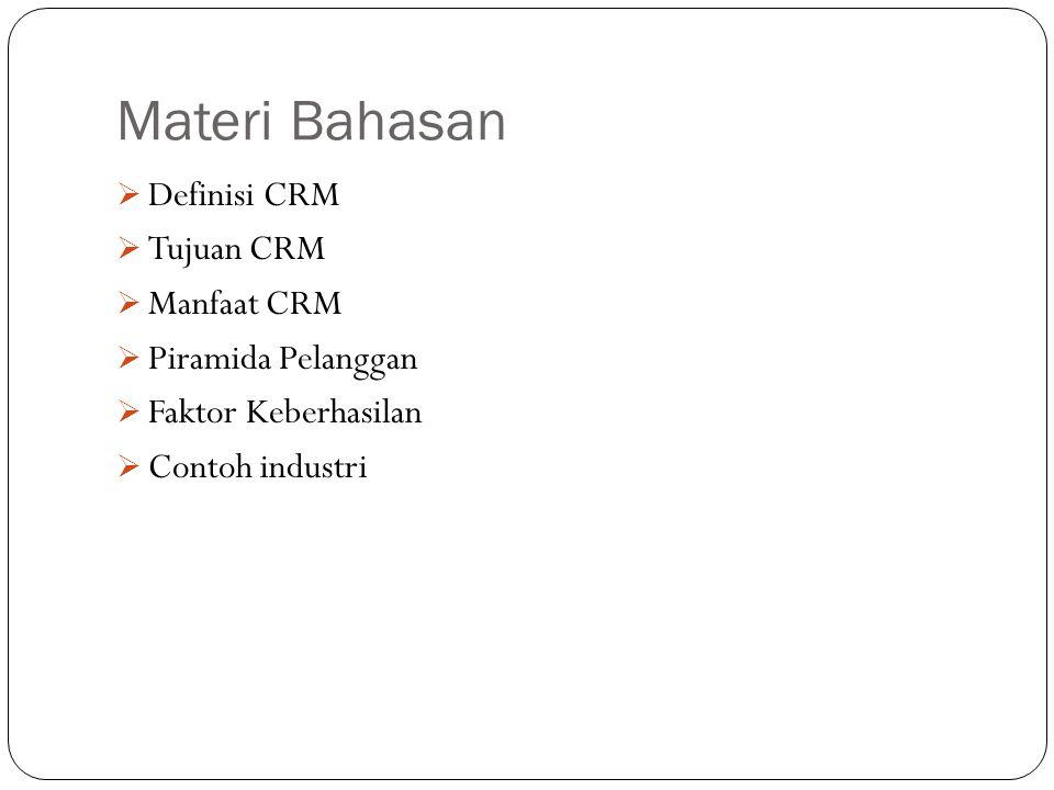 Materi Bahasan Definisi CRM Tujuan CRM Manfaat CRM Piramida Pelanggan