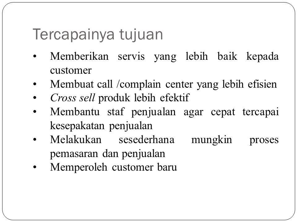 Tercapainya tujuan Memberikan servis yang lebih baik kepada customer