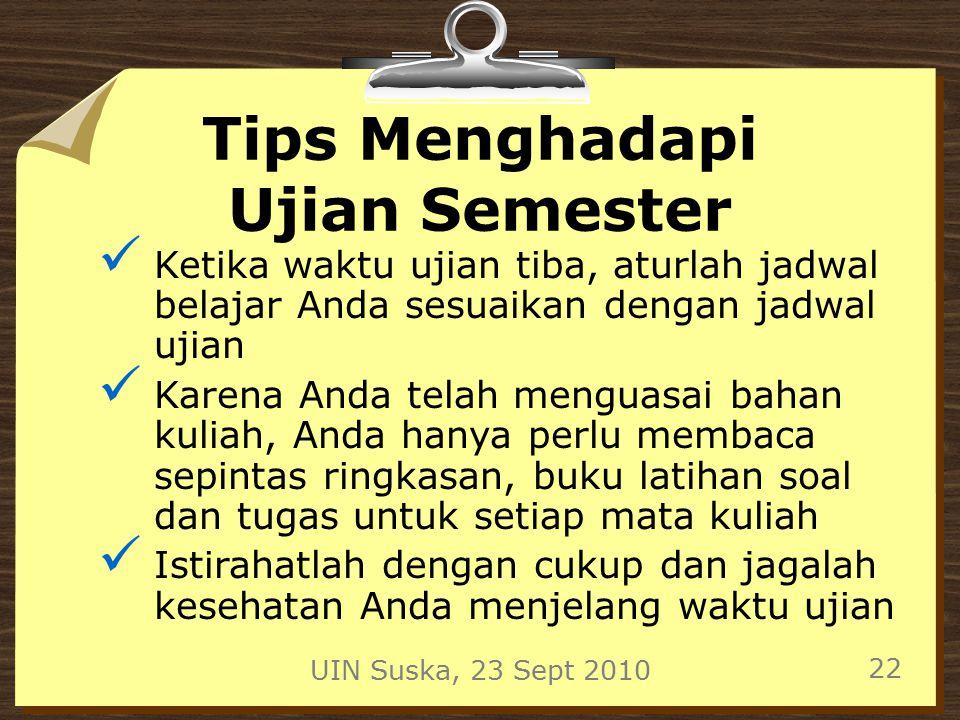 Tips Menghadapi Ujian Semester