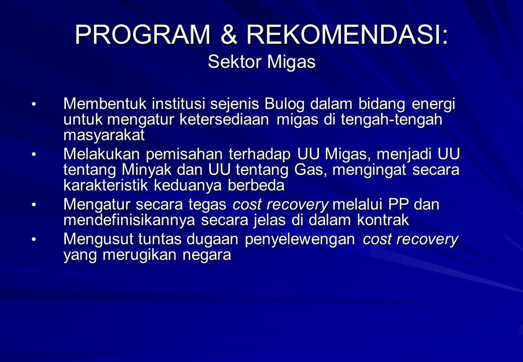 PROGRAM & REKOMENDASI: Sektor Migas