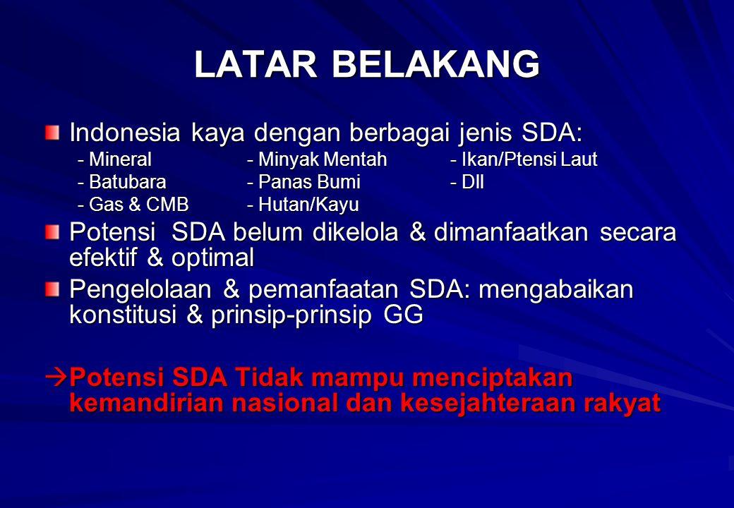LATAR BELAKANG Indonesia kaya dengan berbagai jenis SDA: