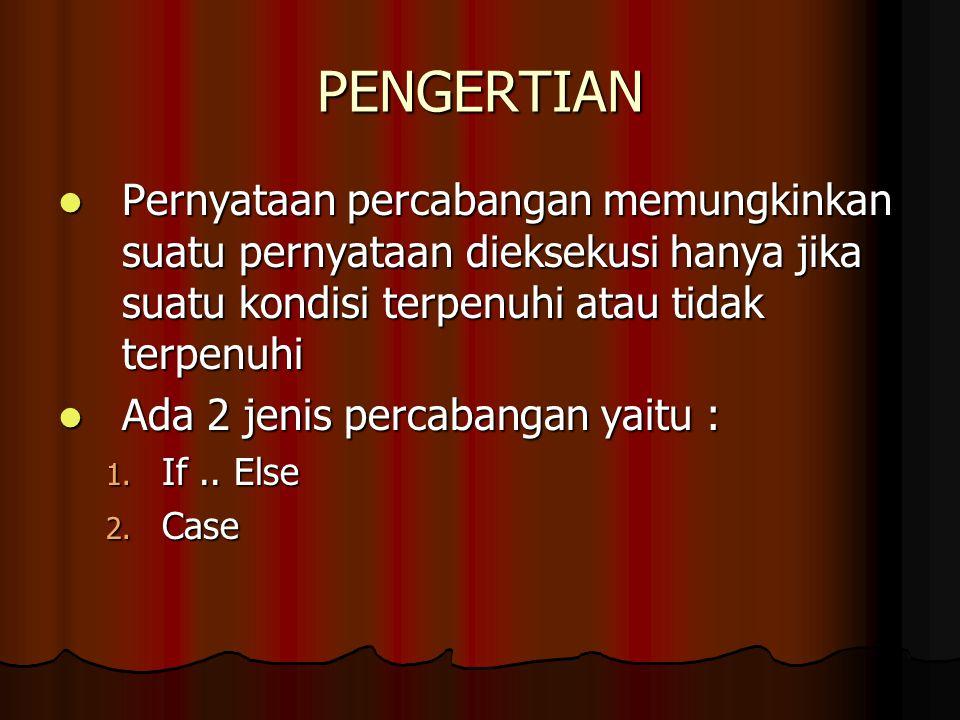 PENGERTIAN Pernyataan percabangan memungkinkan suatu pernyataan dieksekusi hanya jika suatu kondisi terpenuhi atau tidak terpenuhi.