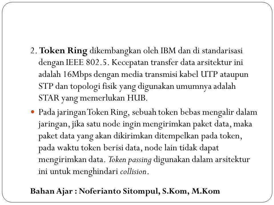 2. Token Ring dikembangkan oleh IBM dan di standarisasi dengan IEEE 802.5. Kecepatan transfer data arsitektur ini adalah 16Mbps dengan media transmisi kabel UTP ataupun STP dan topologi fisik yang digunakan umumnya adalah STAR yang memerlukan HUB.