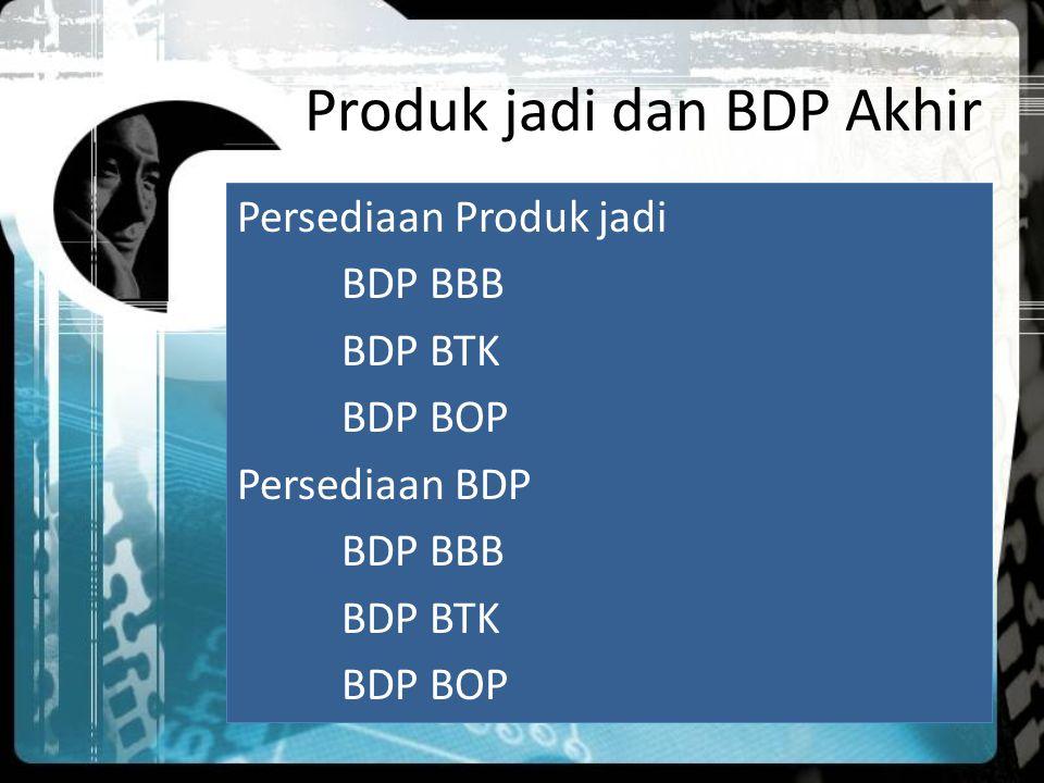 Produk jadi dan BDP Akhir