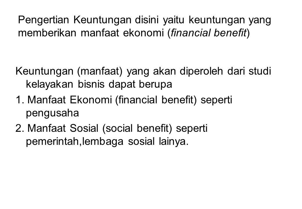 Pengertian Keuntungan disini yaitu keuntungan yang memberikan manfaat ekonomi (financial benefit)
