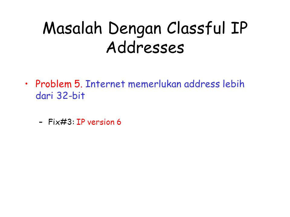 Masalah Dengan Classful IP Addresses