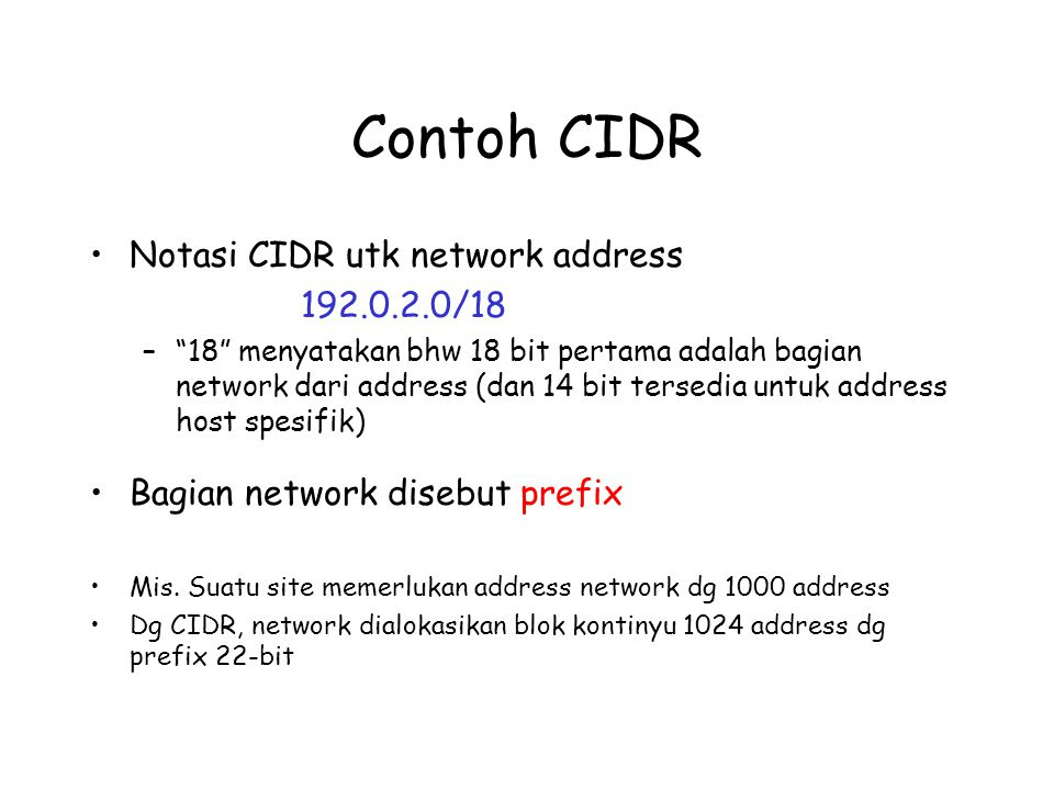 Contoh CIDR Notasi CIDR utk network address 192.0.2.0/18