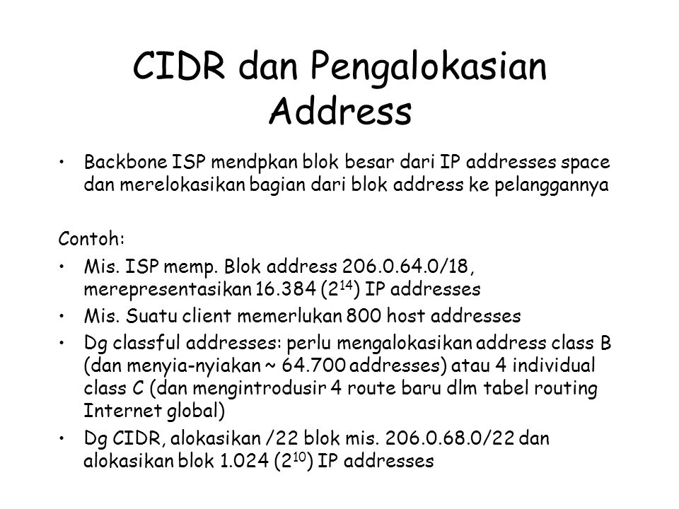 CIDR dan Pengalokasian Address