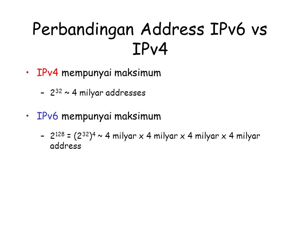 Perbandingan Address IPv6 vs IPv4