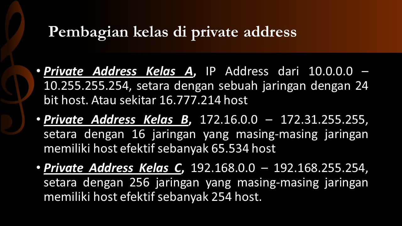 Pembagian kelas di private address