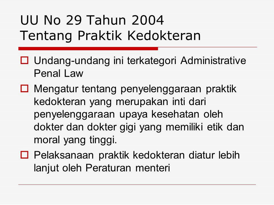 UU No 29 Tahun 2004 Tentang Praktik Kedokteran
