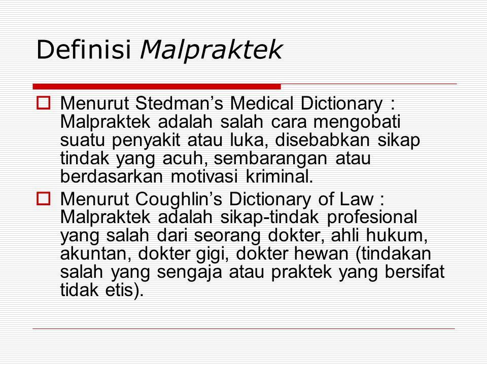 Definisi Malpraktek