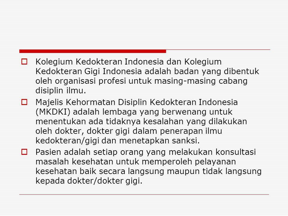 Kolegium Kedokteran Indonesia dan Kolegium Kedokteran Gigi Indonesia adalah badan yang dibentuk oleh organisasi profesi untuk masing-masing cabang disiplin ilmu.