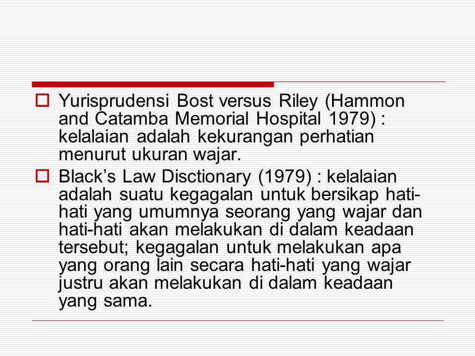 Yurisprudensi Bost versus Riley (Hammon and Catamba Memorial Hospital 1979) : kelalaian adalah kekurangan perhatian menurut ukuran wajar.