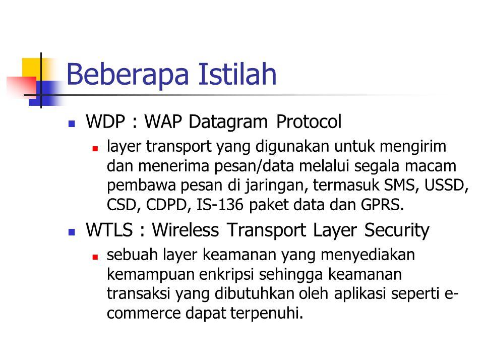 Beberapa Istilah WDP : WAP Datagram Protocol