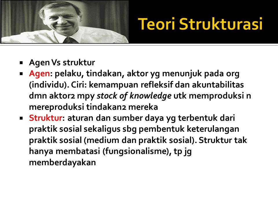 Teori Strukturasi Agen Vs struktur