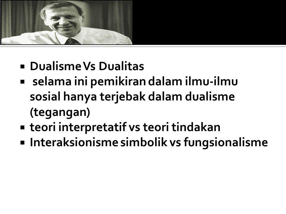 Dualisme Vs Dualitas selama ini pemikiran dalam ilmu-ilmu sosial hanya terjebak dalam dualisme (tegangan)