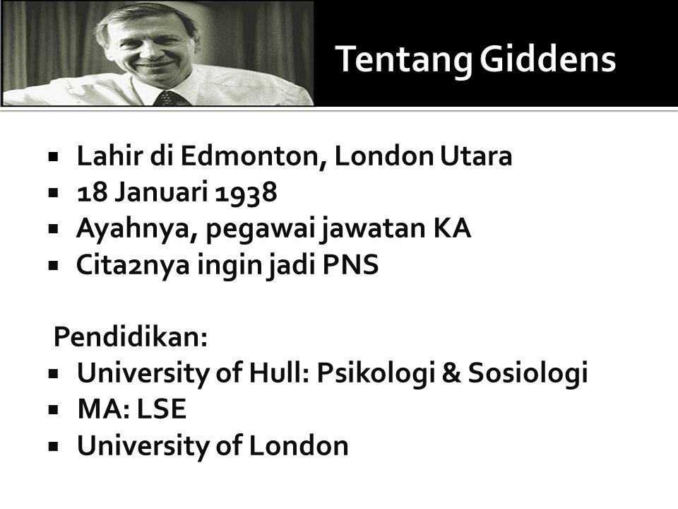 Tentang Giddens Lahir di Edmonton, London Utara 18 Januari 1938