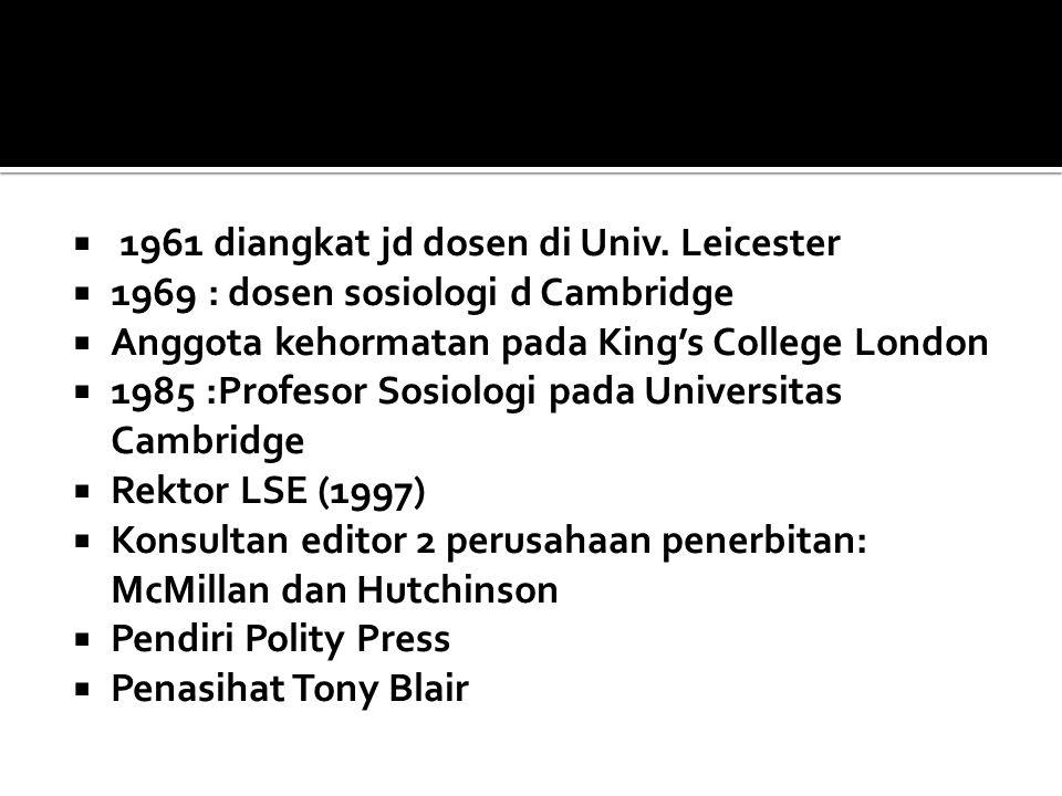 1961 diangkat jd dosen di Univ. Leicester