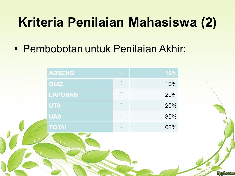 Kriteria Penilaian Mahasiswa (2)