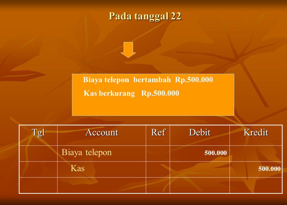 Pada tanggal 22 Tgl Account Ref Debit Kredit Biaya telepon Kas