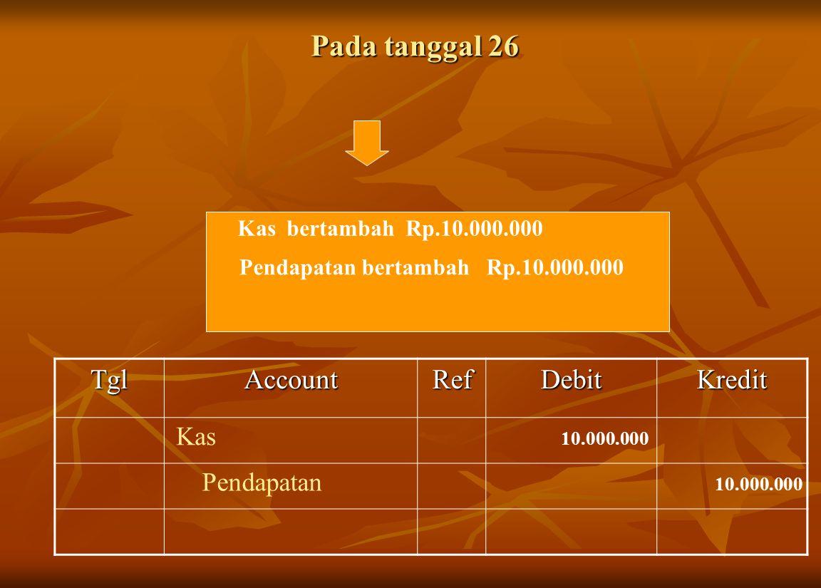 Pada tanggal 26 Tgl Account Ref Debit Kredit Kas Pendapatan