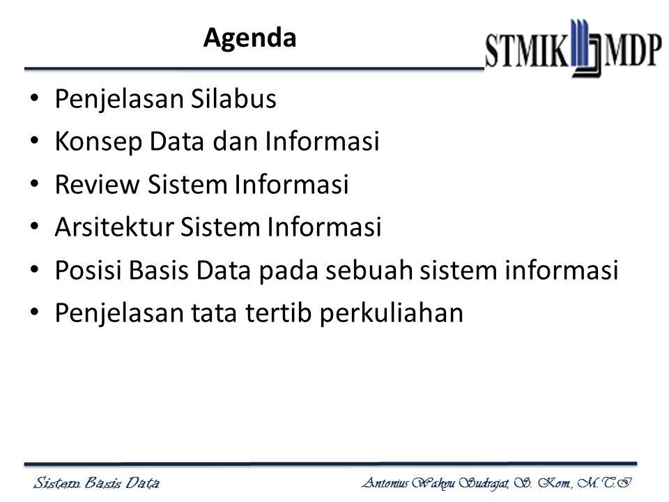 Agenda Penjelasan Silabus. Konsep Data dan Informasi. Review Sistem Informasi. Arsitektur Sistem Informasi.