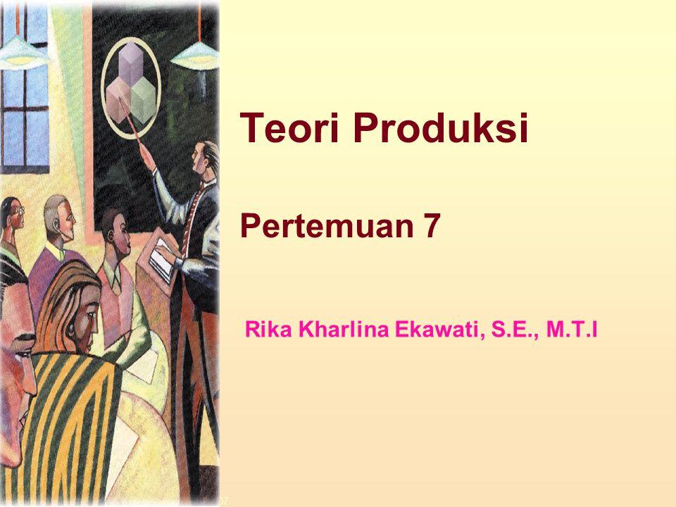Teori Produksi Pertemuan 7 Rika Kharlina Ekawati, S.E., M.T.I