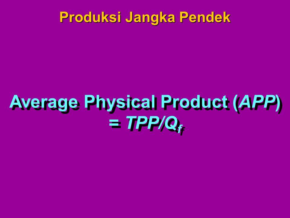 Produksi Jangka Pendek Average Physical Product (APP)