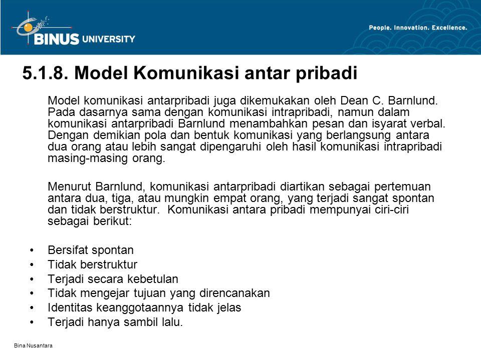 5.1.8. Model Komunikasi antar pribadi