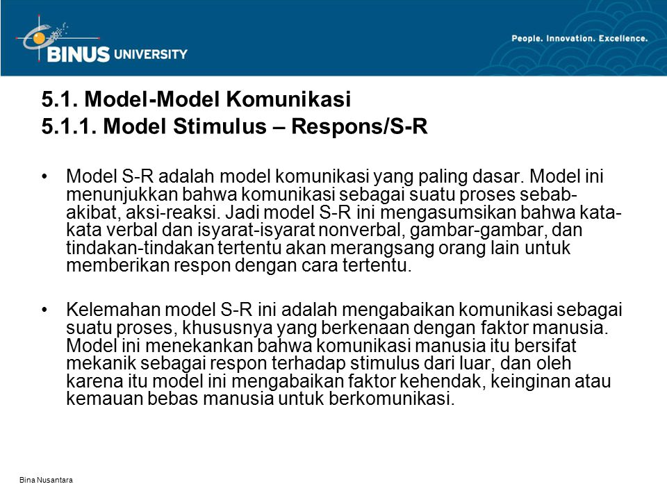 5.1. Model-Model Komunikasi 5.1.1. Model Stimulus – Respons/S-R