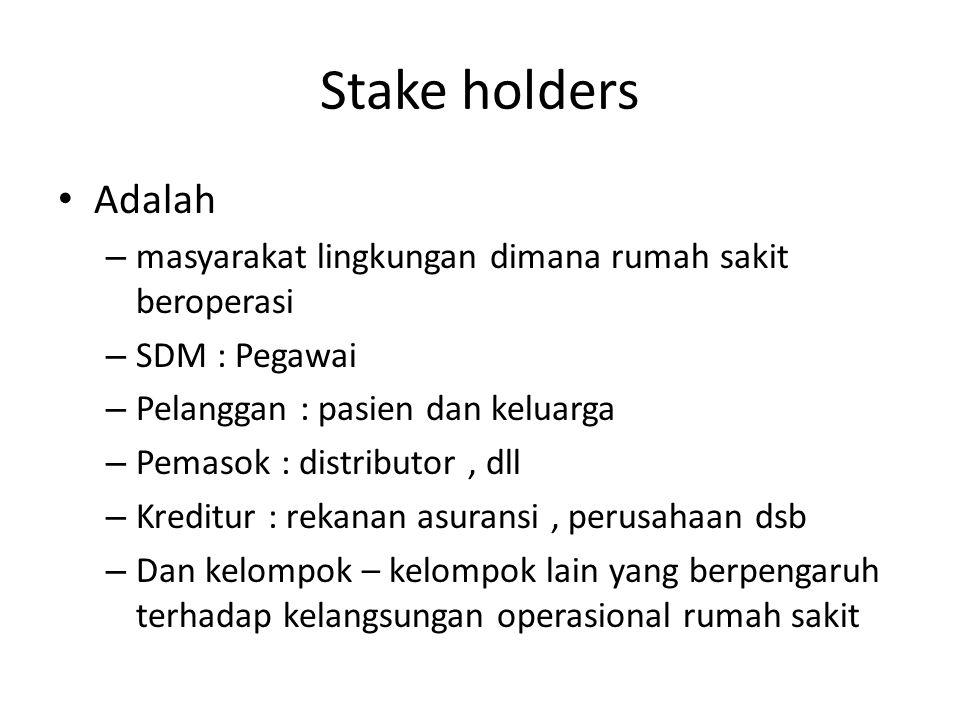 Stake holders Adalah. masyarakat lingkungan dimana rumah sakit beroperasi. SDM : Pegawai. Pelanggan : pasien dan keluarga.