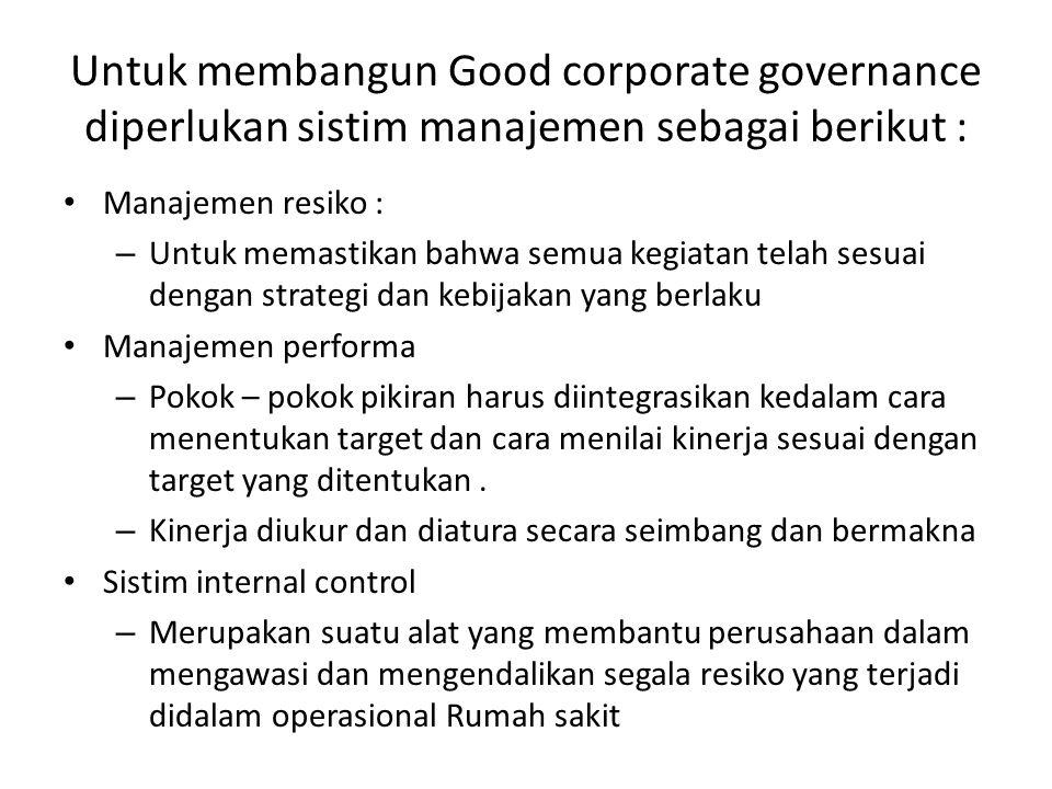 Untuk membangun Good corporate governance diperlukan sistim manajemen sebagai berikut :