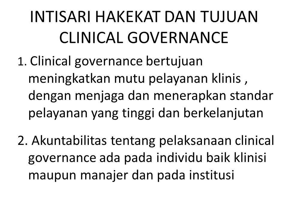 INTISARI HAKEKAT DAN TUJUAN CLINICAL GOVERNANCE
