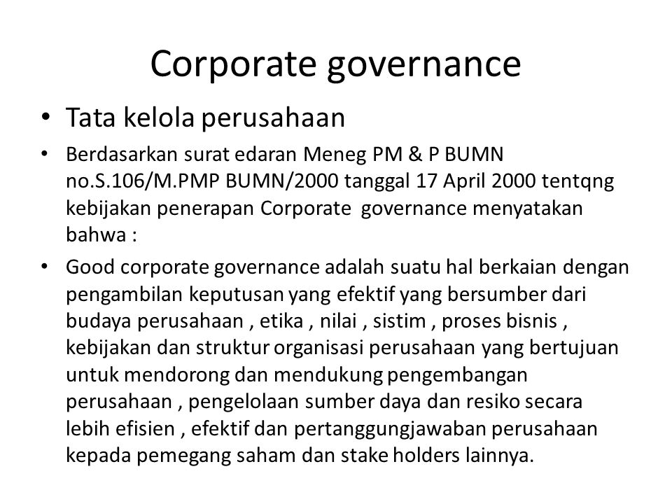 Corporate governance Tata kelola perusahaan