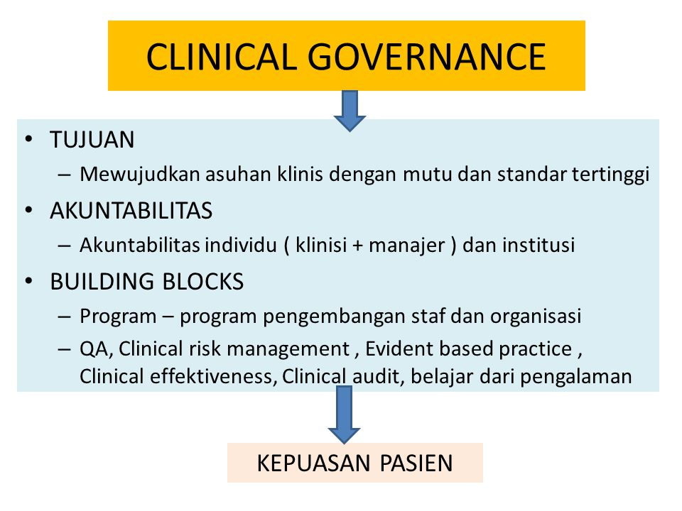 CLINICAL GOVERNANCE TUJUAN AKUNTABILITAS BUILDING BLOCKS