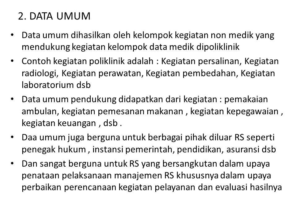 2. DATA UMUM Data umum dihasilkan oleh kelompok kegiatan non medik yang mendukung kegiatan kelompok data medik dipoliklinik.