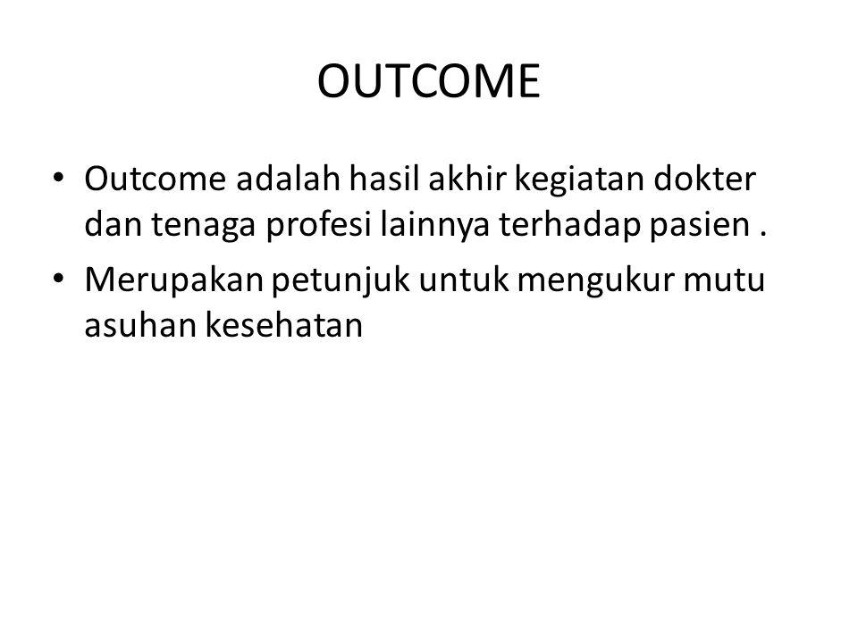 OUTCOME Outcome adalah hasil akhir kegiatan dokter dan tenaga profesi lainnya terhadap pasien .