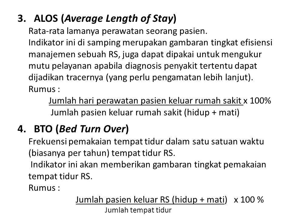 ALOS (Average Length of Stay)