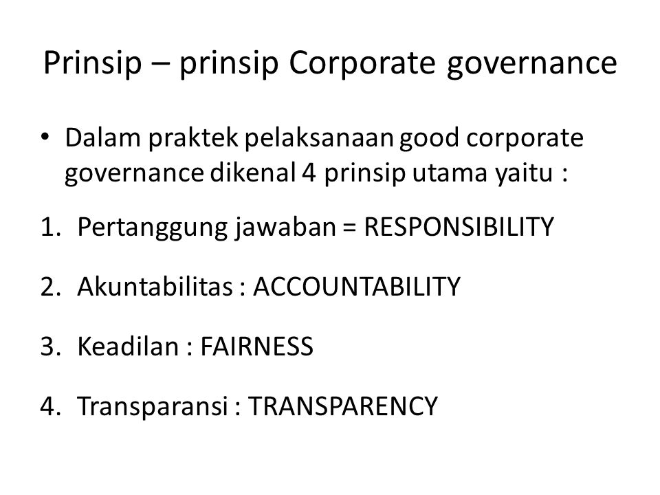 Prinsip – prinsip Corporate governance
