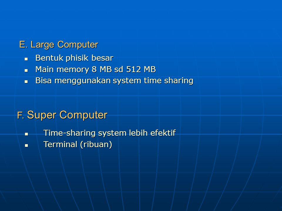 E. Large Computer F. Super Computer Bentuk phisik besar