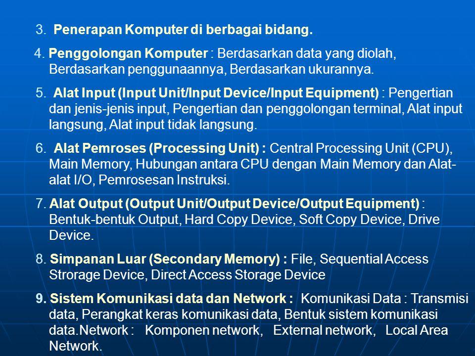 3. Penerapan Komputer di berbagai bidang.