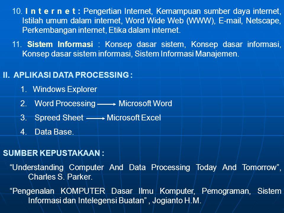 10. I n t e r n e t : Pengertian Internet, Kemampuan sumber daya internet, Istilah umum dalam internet, Word Wide Web (WWW), E-mail, Netscape, Perkembangan internet, Etika dalam internet.