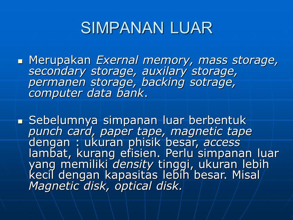 SIMPANAN LUAR Merupakan Exernal memory, mass storage, secondary storage, auxilary storage, permanen storage, backing sotrage, computer data bank.
